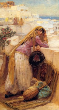 Arabic Oil Painting - On the Terrace Arabic Frederick Arthur Bridgman