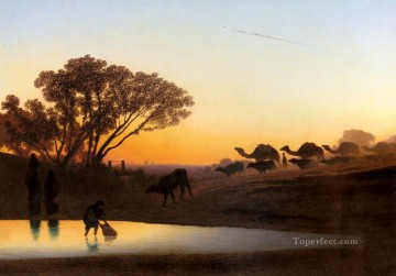 Sunset On The Nile scenery Charles Theodore Frere Arabs Oil Paintings