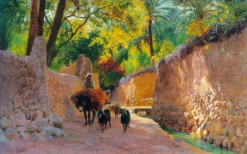 Sur le chemin du marche Eugene Girardet Araber Oil Paintings