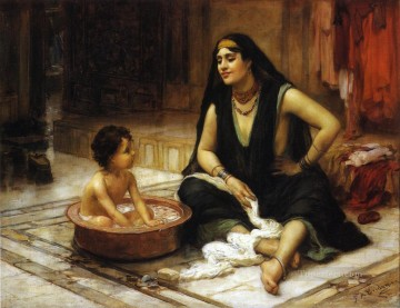 Arabic Oil Painting - The Bathing Cove Arabic Frederick Arthur Bridgman