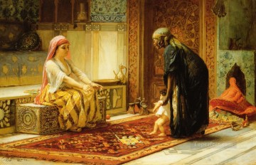 Arabic Oil Painting - The First Steps Arabic Frederick Arthur Bridgman