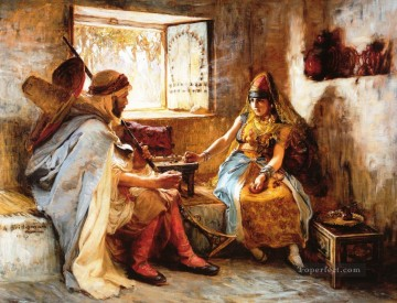 Arabic Oil Painting - The Game of Chance Arabic Frederick Arthur Bridgman