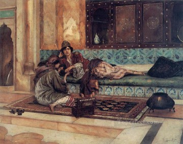 Arab Painting - The Manicure Arabian painter Rudolf Ernst