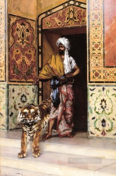 Arab Painting - The Pashas Favourite Tiger Arabian painter Rudolf Ernst