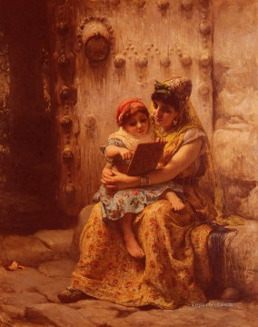 Arabic Oil Painting - The Reading Lesson Arabic Frederick Arthur Bridgman