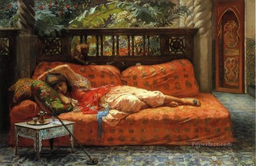 Arabic Oil Painting - The Siesta Arabic Frederick Arthur Bridgman