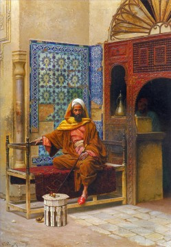 Arab Painting - The Smoker Ludwig Deutsch Orientalism Araber