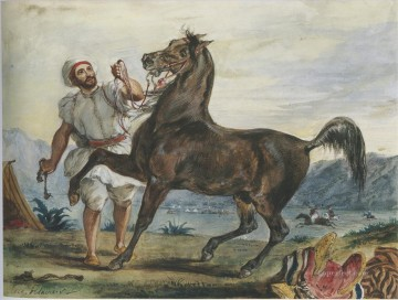 Arab Canvas - Turk Leading His Horse or Arab
