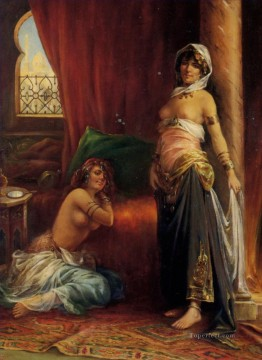 Two Harem Beauties Adrien Henri Tanoux Arabs Oil Paintings