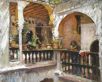 Arab Painting - WOMAN ON A BALCONY ALGIERS Frederick Arthur Bridgman Arab