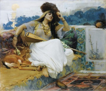 Arab Painting - YOUNG WOMAN ON A TERRACE JEUNE FEMME SUR UNE TERRASSE Frederick Arthur Bridgman Arab