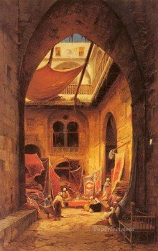 Arab Painting - carpet bazar Hermann David Salomon Corrodi orientalist scenery Araber