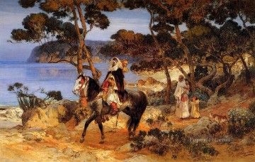 Arabic Oil Painting - A Coastal Trail Arabic Frederick Arthur Bridgman