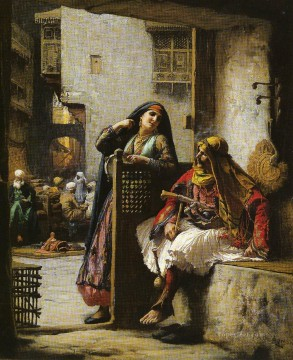 Arabic Oil Painting - ALMEH FLIRTING WITH AN ARMENIAN POLICEMAN CAIRO Arabic Frederick Arthur Bridgman
