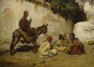 Arab Painting - ARAB CHILDREN PLAYING CARDS Frederick Arthur Bridgman Arab