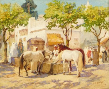 Arab Painting - AT THE FOUNTAIN ALGIERS Frederick Arthur Bridgman Arab