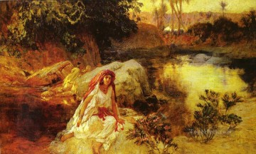 Arabic Oil Painting - AT THE OASIS Arabic Frederick Arthur Bridgman