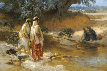 Arab Painting - AT THE WATERs EDGE Frederick Arthur Bridgman Arab