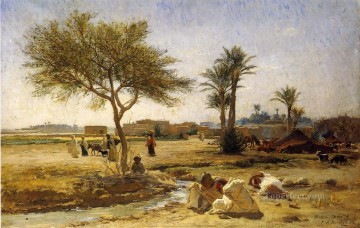 Arabic Oil Painting - An Arab Village Arabic Frederick Arthur Bridgman