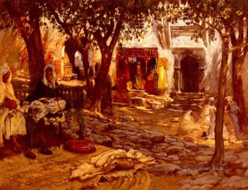 Arabic Oil Painting - An Eastern Courtyard Arabic Frederick Arthur Bridgman