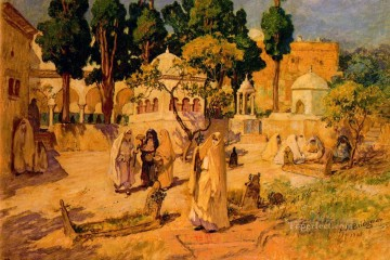 Arabic Oil Painting - Arab Women at the Town Wall Arabic Frederick Arthur Bridgman