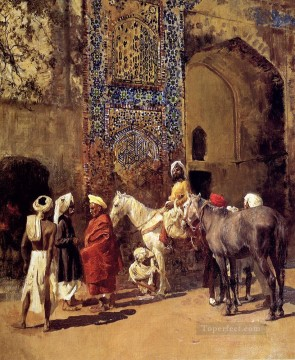 Arab Painting - Blue Tiled Mosque At Delhi India Arabian Edwin Lord Weeks