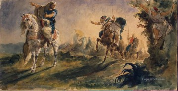 Arab Canvas - Delacroix Eugene ZZZ Arab Riders on Scouting Mission