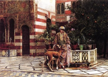 Girl in a Moorish Courtyard Arabian Edwin Lord Weeks Oil Paintings