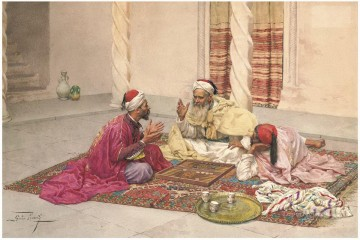 KG Art - Giulio Rosati Backgammon players in a courtyard Arabs