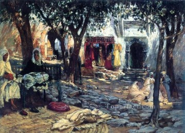 Arabic Oil Painting - Idle Moments An Arab Courtyard Arabic Frederick Arthur Bridgman