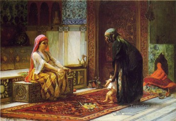 Arabic Oil Painting - Mother and Child Arabic Frederick Arthur Bridgman