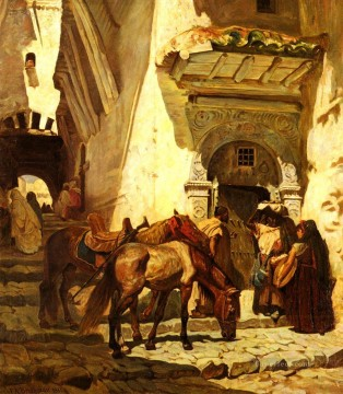 Arabic Oil Painting - Near The Kasbah Arabic Frederick Arthur Bridgman