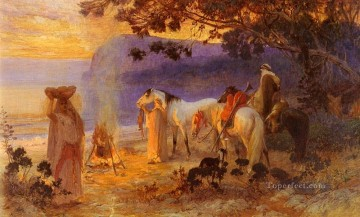 Arabic Oil Painting - On The Coast Of Kabylie Arabic Frederick Arthur Bridgman