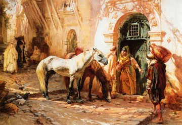 Arabic Oil Painting - Scene in Morocco Arabic Frederick Arthur Bridgman