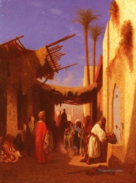 Arab Canvas - Street In Damascus Part 1 Arabian Orientalist Charles Theodore Frere