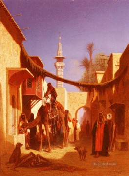 Arab Canvas - Street In Damascus Part 2 Arabian Orientalist Charles Theodore Frere