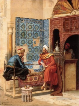 Game Art Painting - The Chess Game Ludwig Deutsch Orientalism Araber