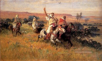 Arabic Oil Painting - The Falcon Hunt Arabic Frederick Arthur Bridgman