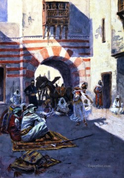 street scene in arabia 1908 Charles Marion Russell Arab Oil Paintings