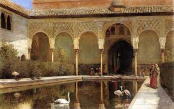 Arab Painting - A Court in The Alhambra in the Time of the Moors Arabian Edwin Lord Weeks