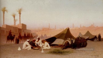 Orientalist Art Painting - A Late Afternoon Meal At An Encampment Cairo Arabian Orientalist Charles Theodore Frere