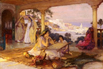Arabic Oil Painting - An Eastern Veranda Arabic Frederick Arthur Bridgman