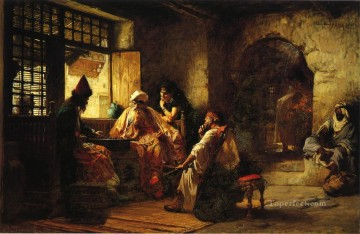 Arabic Oil Painting - An Interesting Game Arabic Frederick Arthur Bridgman