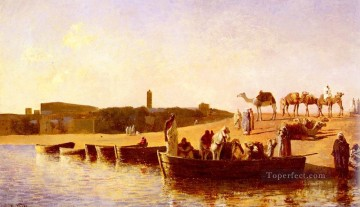 Arab Painting - At The River Crossing Arabian Edwin Lord Weeks