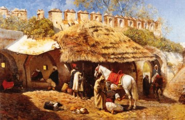 Blacksmith Painting - Blacksmith Shop at Tangiers Arabian Edwin Lord Weeks