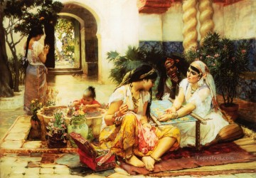 Arabic Oil Painting - In a Village El Biar Algeria Arabic Frederick Arthur Bridgman