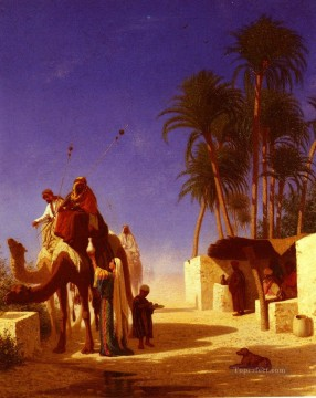 Orientalist Works - Les Chameliers Buvant Le The Arabian Orientalist Charles Theodore Frere