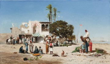 Marche au bord du Nil Victor Huguet Araber Oil Paintings