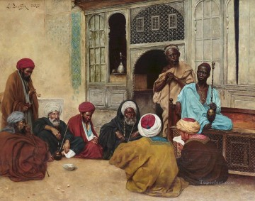 Arab Painting - Outside a Cafe Ludwig Deutsch Orientalism Araber