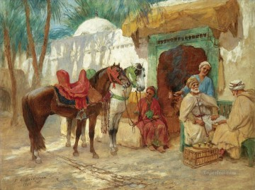 Arab Painting - THE CHESS PLAYERS Frederick Arthur Bridgman Arab